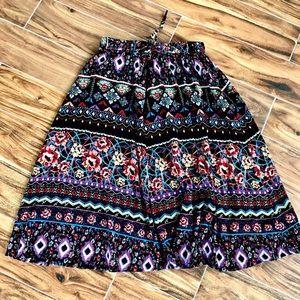 Vintage Boho Colorful Floral Printed Midi Skirt